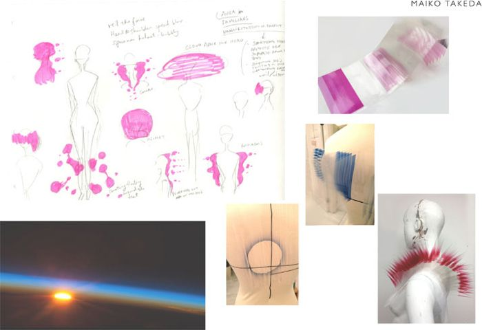 Эскизы коллекции головных уборов и аксессуаров, дизайнер Майко Такеда (Maiko Takeda).